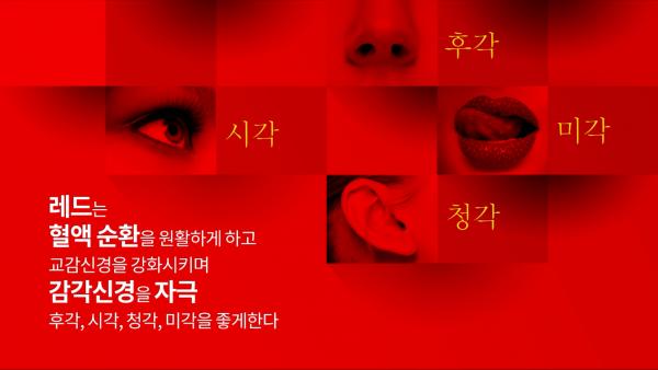빨간색 바탕에 이미지, 눈(시각), 코(후각), 귀(청각), 입술(미각) 사진, 글 '레드는 혈액 순환을 원활하게 하고 교감신경을 강화시키며 감각신경을 자극 후각, 시각, 청각, 미각을 좋게한다'