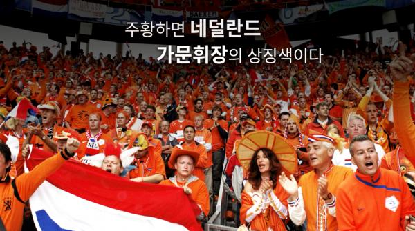 경기관중석에 오렌지색 옷을 입고있는 네덜란드 사람들, 사람들 위에 글 '주황하면 네덜란드 가문휘장의 상징색이다'